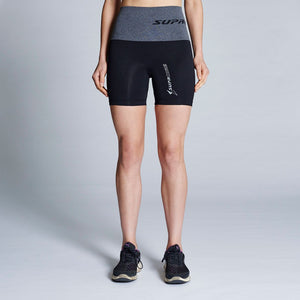 Patented Women's CORETECH® Injury Recovery and Postpartum Compression Shorts (Black with Grey Waistband)