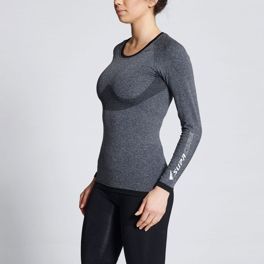 hot sale online f4e65 3fda9 Women s Long Sleeve Compression Top (Grey Marle) – Supacore