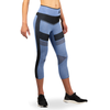 Women's Compression Mesh Capri Leggings - Blue