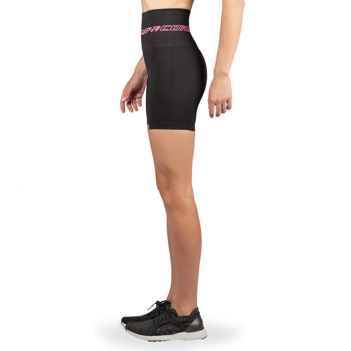 Patented CORETECH® Injury Recovery and Postpartum Compression Shorts (Black with Pink Logo)