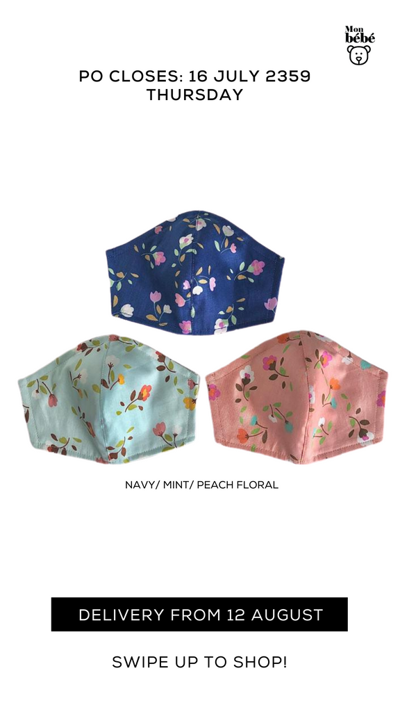 NEW ARRIVALS 100% Cotton Fabric Mask - Adult/ Kid *Delivery from 10 Oct*