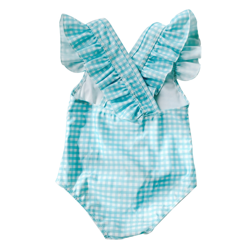*NEW* Gingham Aqua Flutter Sleeves (Up to 120cm)
