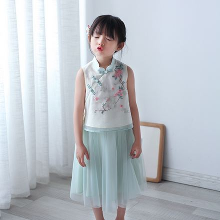 Bunny Embroidery Cheongsam Top + Skirt (Up to 140cm)