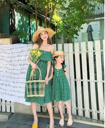 Provence Off-shoulder Twinning Dress (80cm to Mama L)