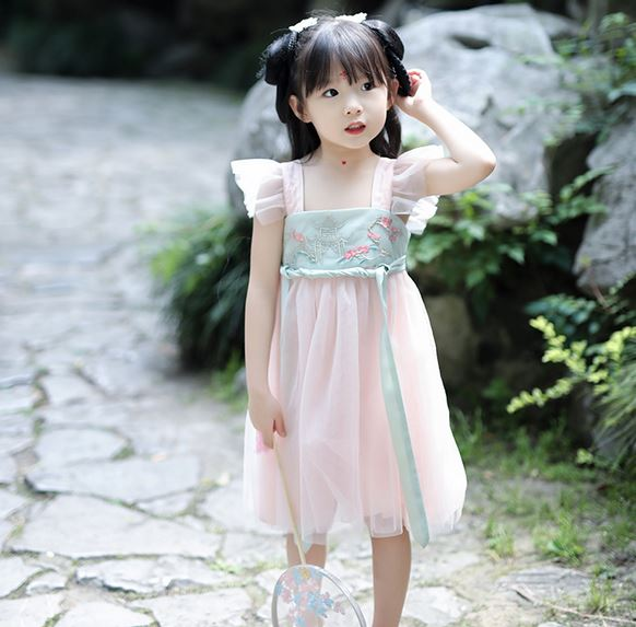 Fairy Flutter Oriental Dress - Green/ Pink (Up to 140cm)