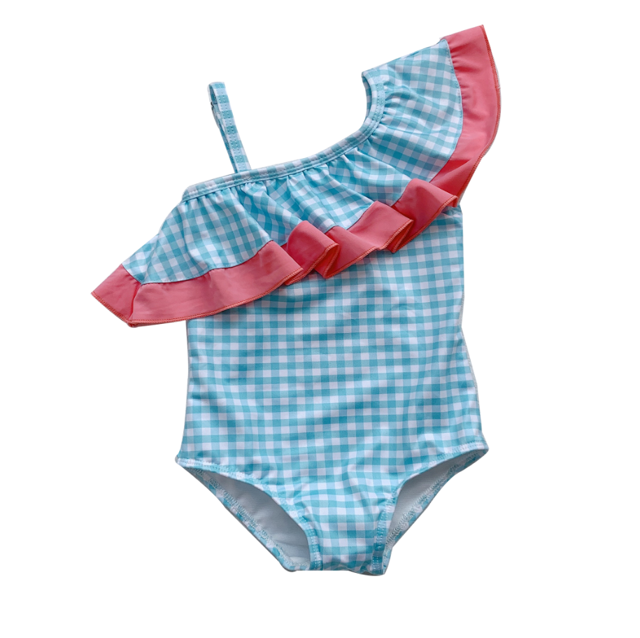 *NEW* Gingham Aqua Toga Swimsuit (Up to 140cm)