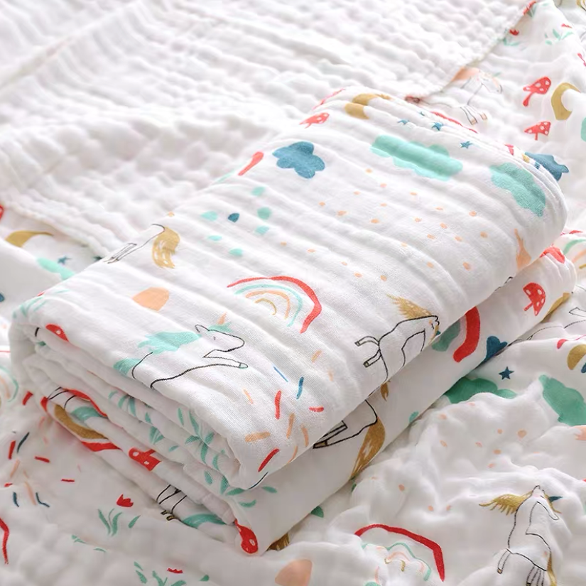 PRINTS Muslin Cotton Blanket/ Towel - Unicorns & Rainbows (4 sizes)