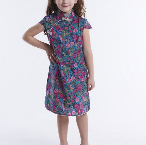 Playful Prints Cheongsam - Magenta Fields (Up to 150cm)