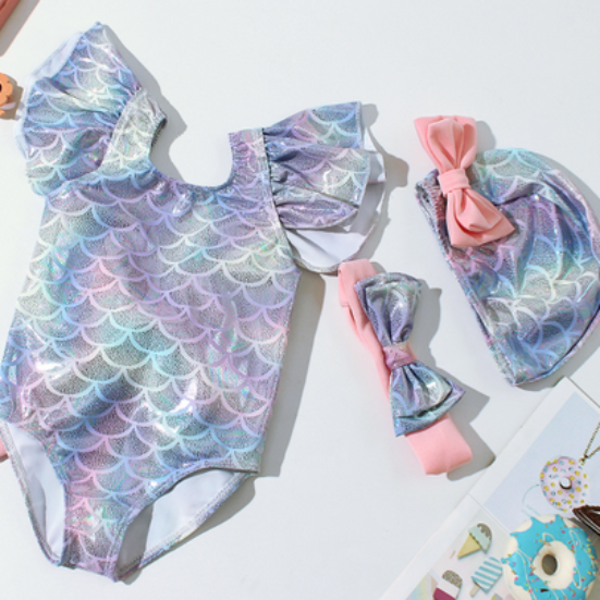 Glittering Mermaid Swimsuit with Bow
