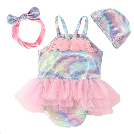 Mermaid Tulle Swimsuit - comes with cap and headband (Up to 120cm)