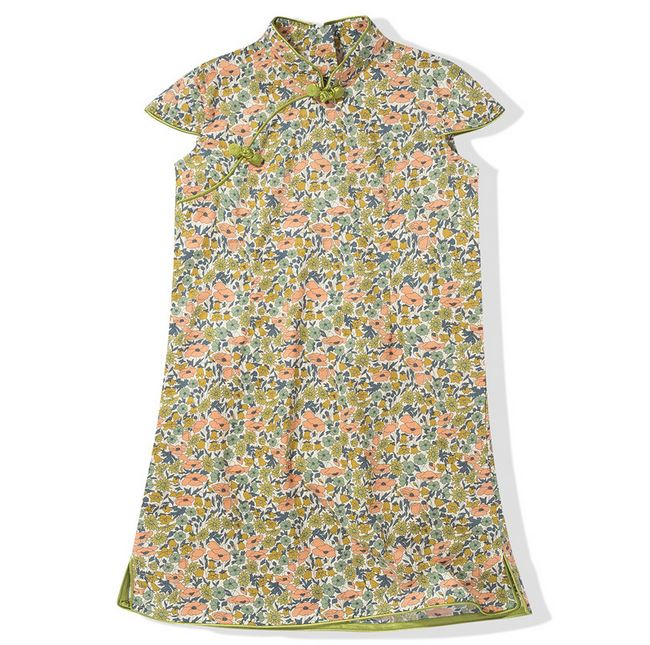 Playful Prints Cheongsam - Olive Bouquet (Up to 150cm)