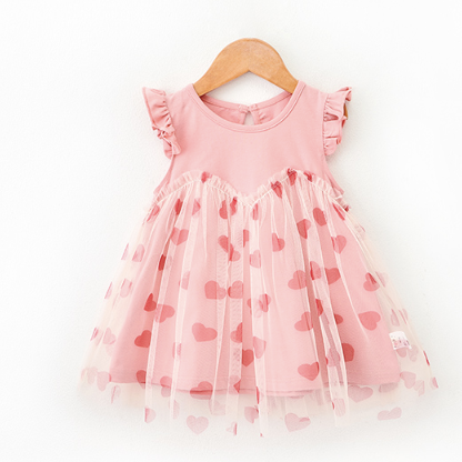 Valentina Hearts Tulle Dress (Up to 140cm)