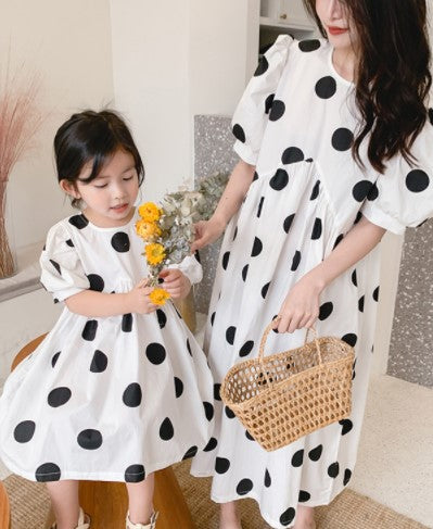 *New Arrival* Emery Dots Twinning Dress (90cm to Mama M)