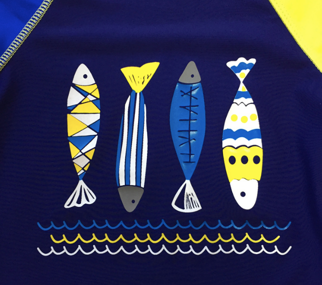 Fish and Waves Rash Guard Set