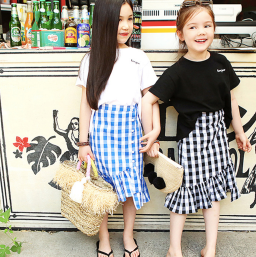 Freida Checkered Skirt - Blue/ Black (Up to Mama Size L)