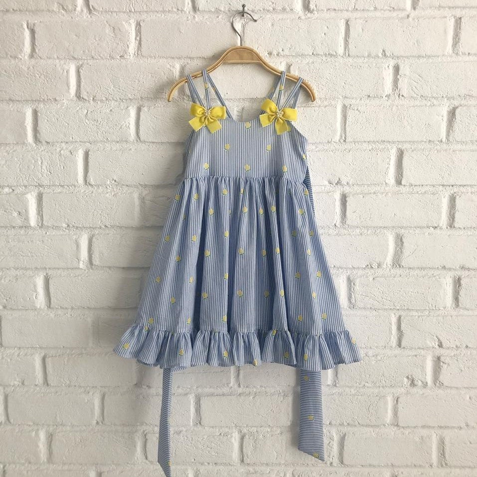 *Limited Handmade* Summer Lemon Cotton Dress (Size 1-4 yo)