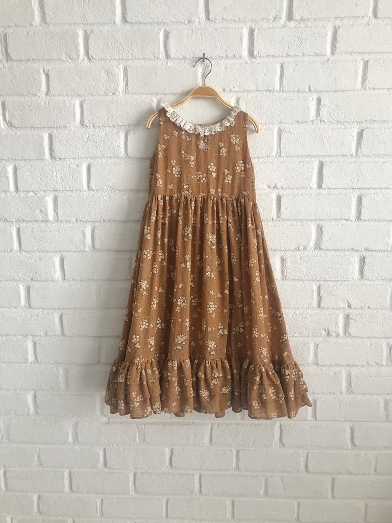 *Limited Handmade* Lindy Lace Cotton Dress - Dusty Pink/ Brown