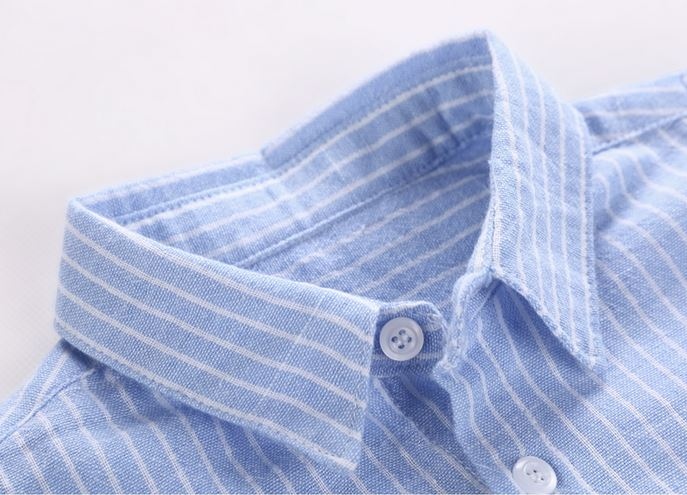 Bearie Cotton Striped Shirt (Blue/ Pink) Up to 122cm