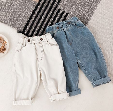 Benji Buttons Denim Jeans - Cream/ Denim (Up to 130cm)