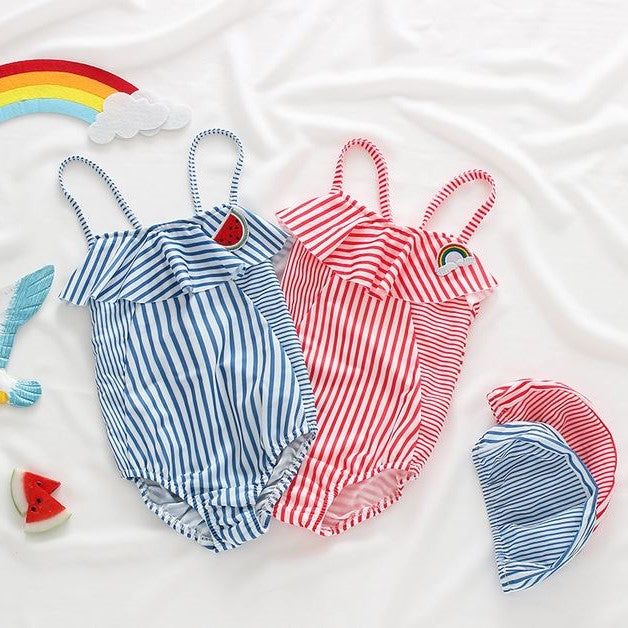 Bonjour SwimSuit - Blue/ Red (Up to 130cm)