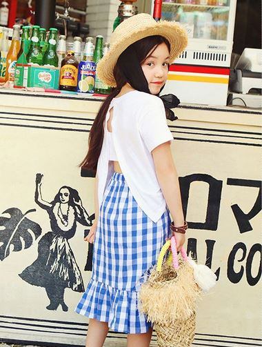 Bonjour Tee + Skirt Set - Black/ Blue (90cm to Mama size L)