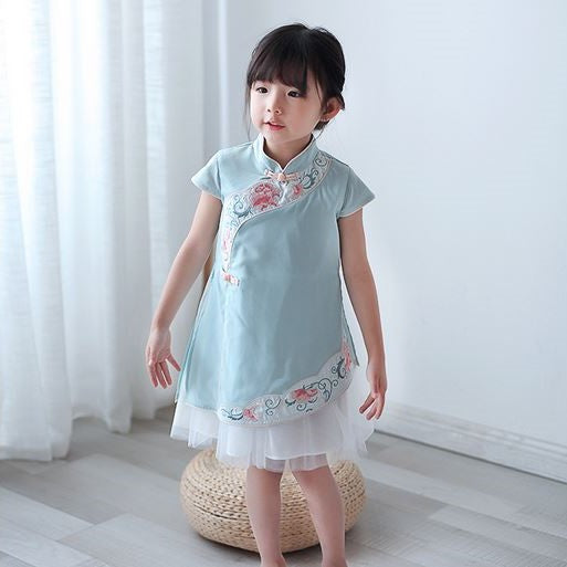 Camellia Cheongsam Tulle Dress (Up to 140cm)