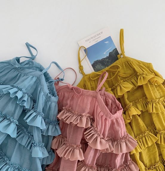 *PO Closes 19 Apr*  Cassandra Cascading Dress - Pink/ Mustard/ Blue (Up to 130cm)
