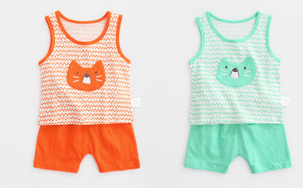 100% Cotton Kitty Cat Singlet & Shorts Set (Orange/ Mint)