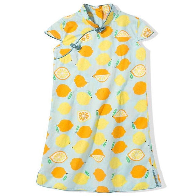 Playful Prints Cheongsam - Citrus Love (Up to 140cm)