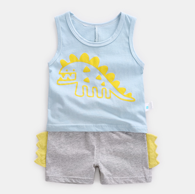 100% Cotton Dino Singlet & Shorts Set (Pink/ Blue/ Yellow)