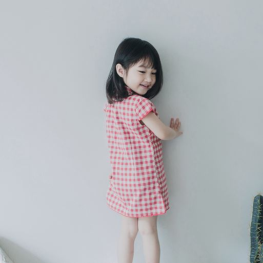 Classic Gingham Cheongsam - Red/ Blue (up to 140cm)