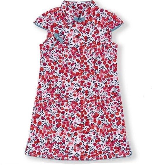 Playful Prints Cheongsam - Cherry Blossoms (Up to 150cm)