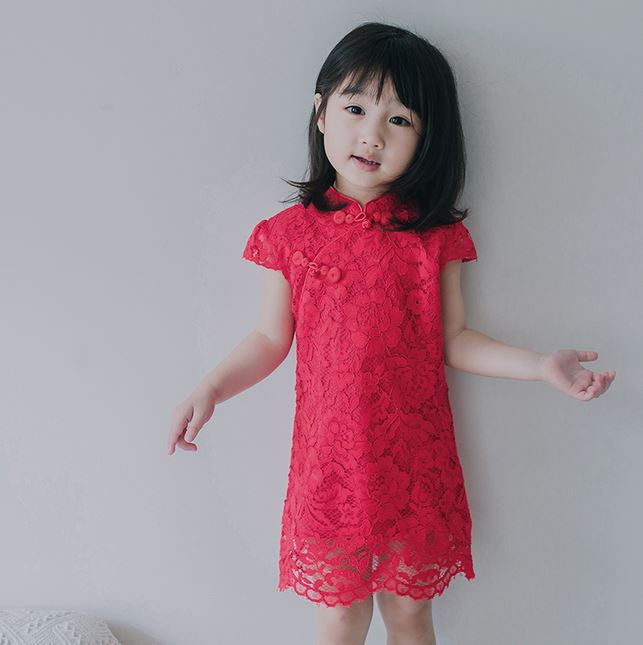 Classic Lace Cheongsam (Up to 140cm) - Scarlet/ Pink