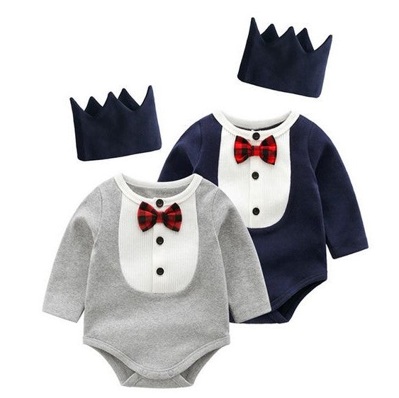 Little Prince Long Sleeved Romper + Crown Headband (Up to 80cm)