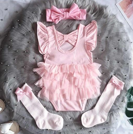Ma Cherie Tulle Romper (White/ Pink)