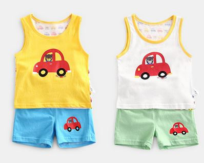 100% Cotton Miki Car Singlet & Shorts Set (White/ Yellow)