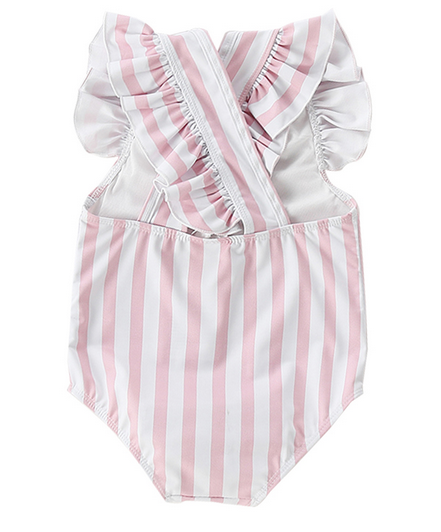 Powder Pink Stripes Swimsuit