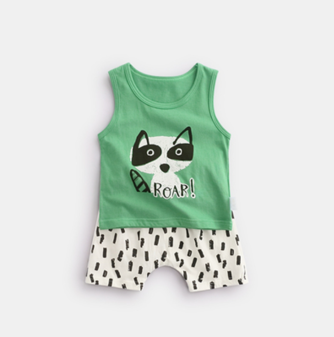 100% Cotton Racoon Roar Singlet & Shorts Set