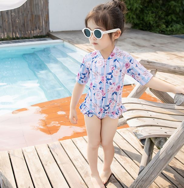 Roses Sleeved Swimsuit (Up to 135cm)