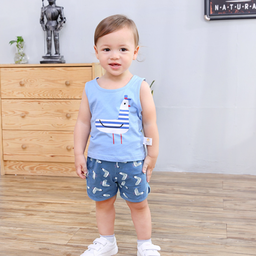 100% Cotton Seagull Singlet & Shorts Set (Pink/ Blue)
