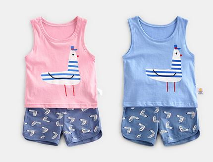 Seagull Singlet & Shorts Set (Pink/ Blue)