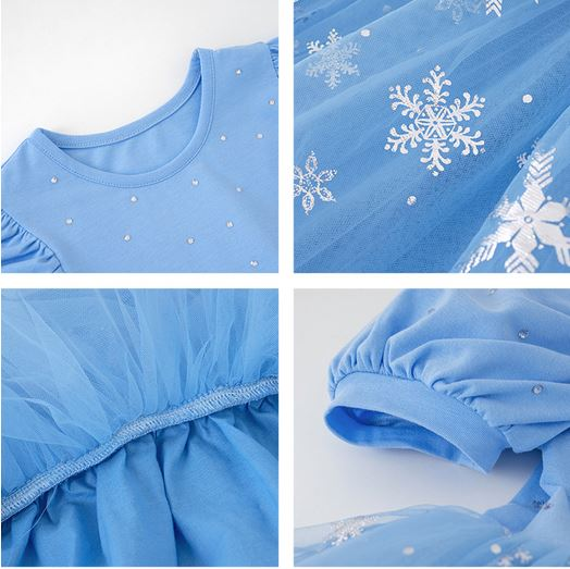 *PO Closes 19 Apr* Snow Gem Tulle Dress - Blue/ White (Up to 130cm)