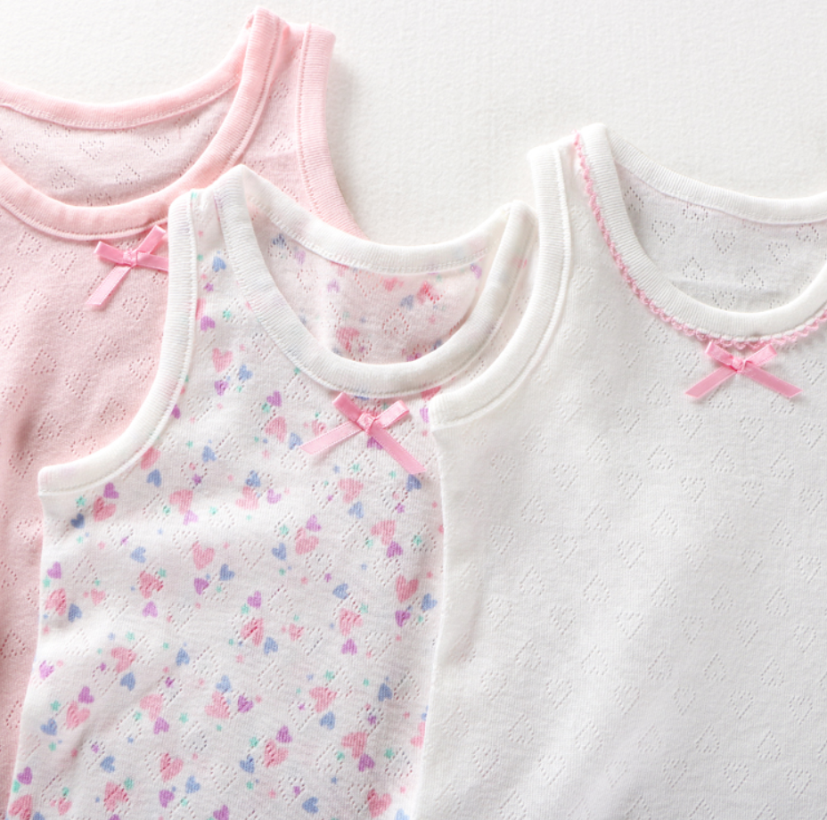 Petite Homewear - Sweet Heart Singlets Up to 140cm  (Set of 3)