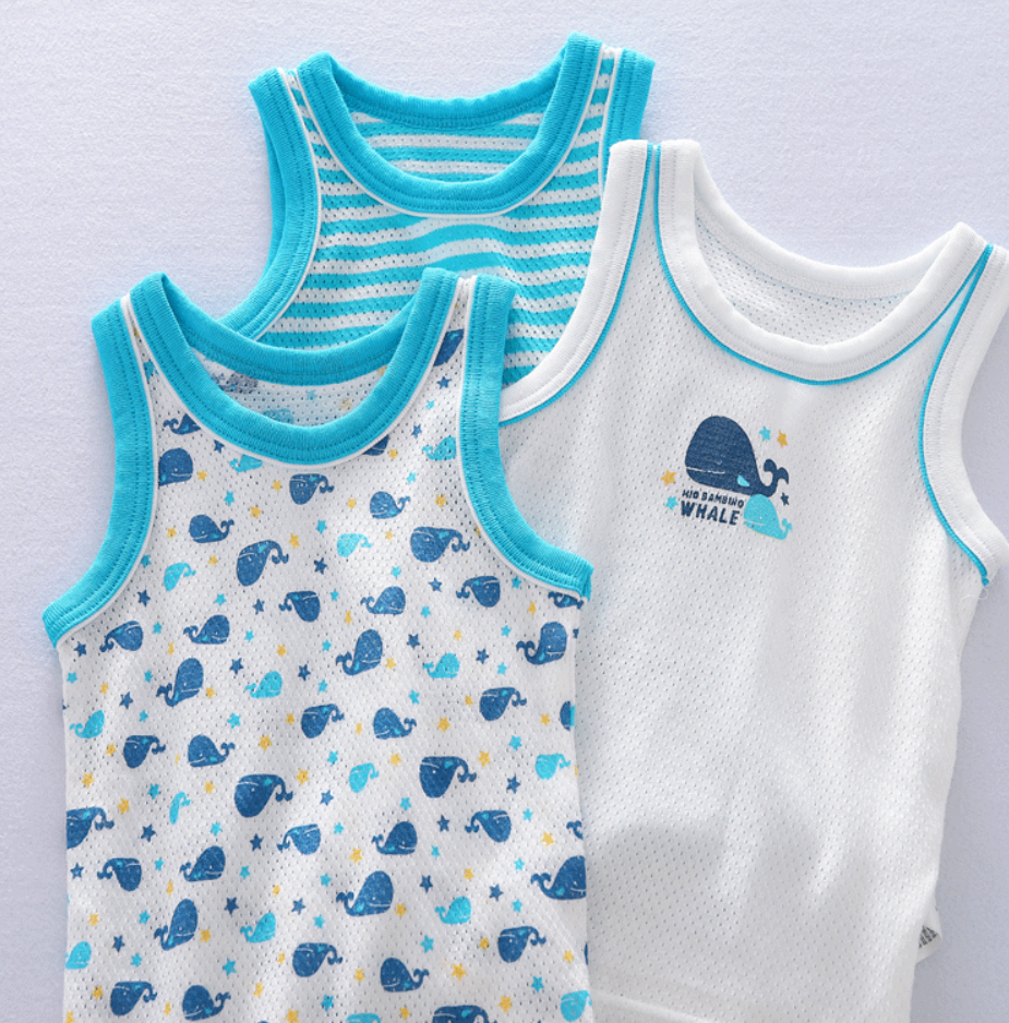 Petite Homewear - Aqua Whale Singlets Up to 140cm  (Set of 3)