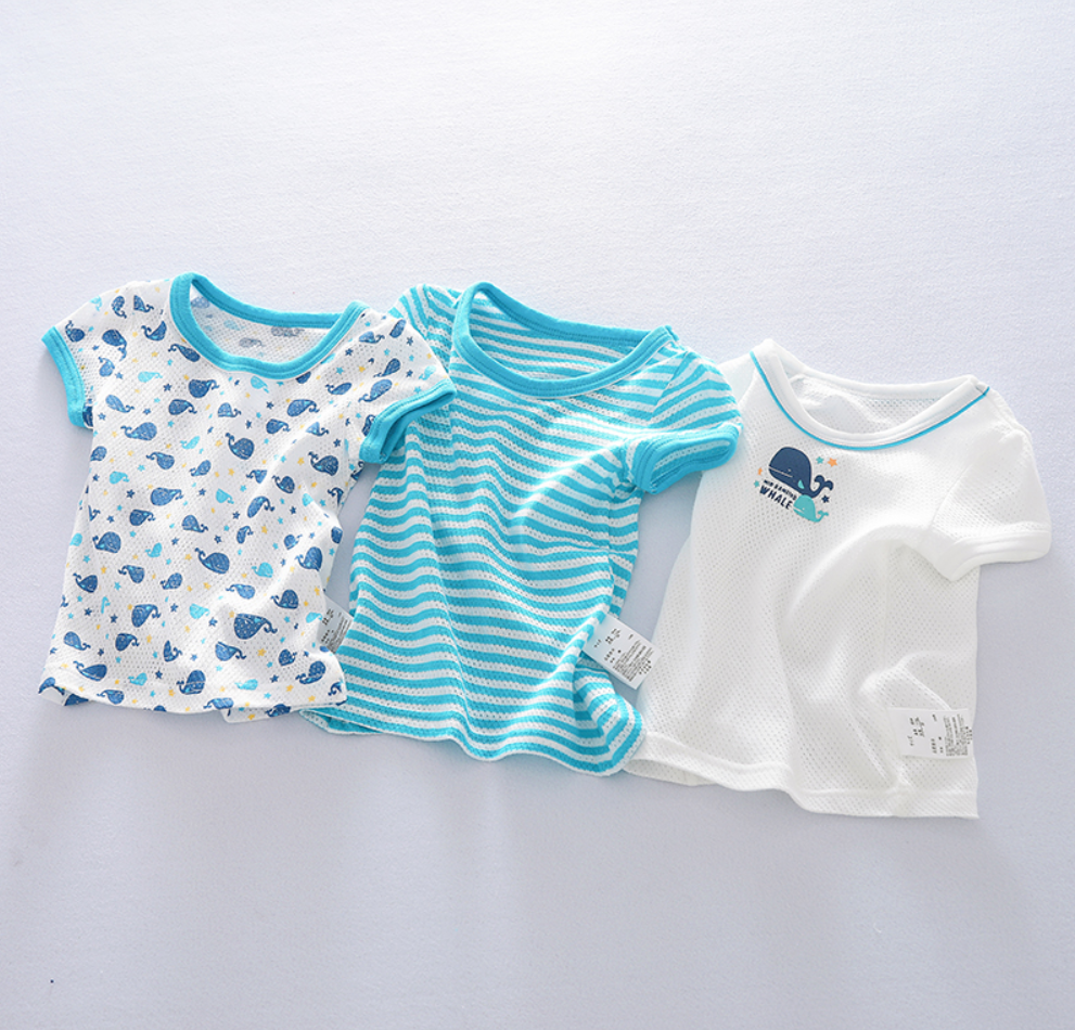 Petite Homewear - Aqua Whale Tees Up to 140cm  (Set of 3)