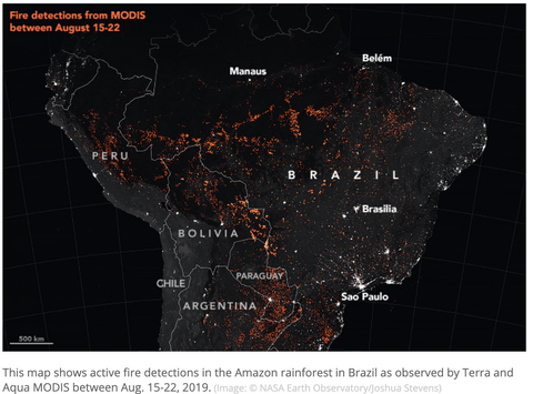 Images from Nasa about Amazon fires