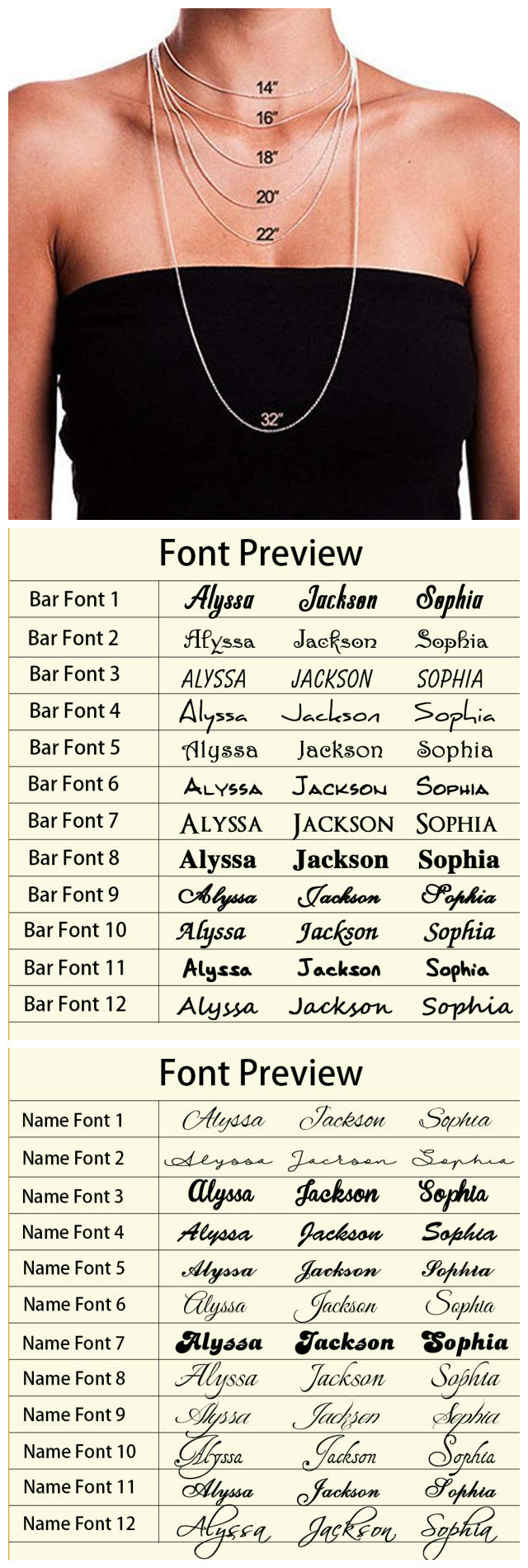 Size and Font Chart
