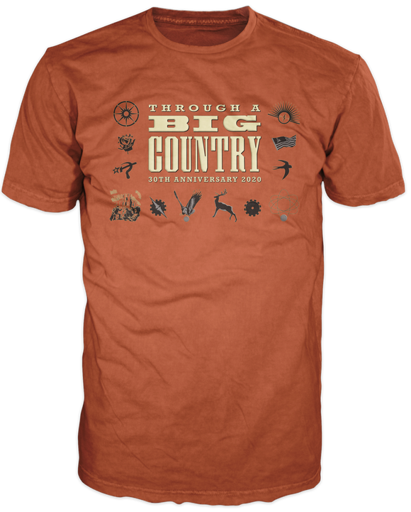 Through a Big Country 30th Anniversary  T Shirt, Burnt Orange.