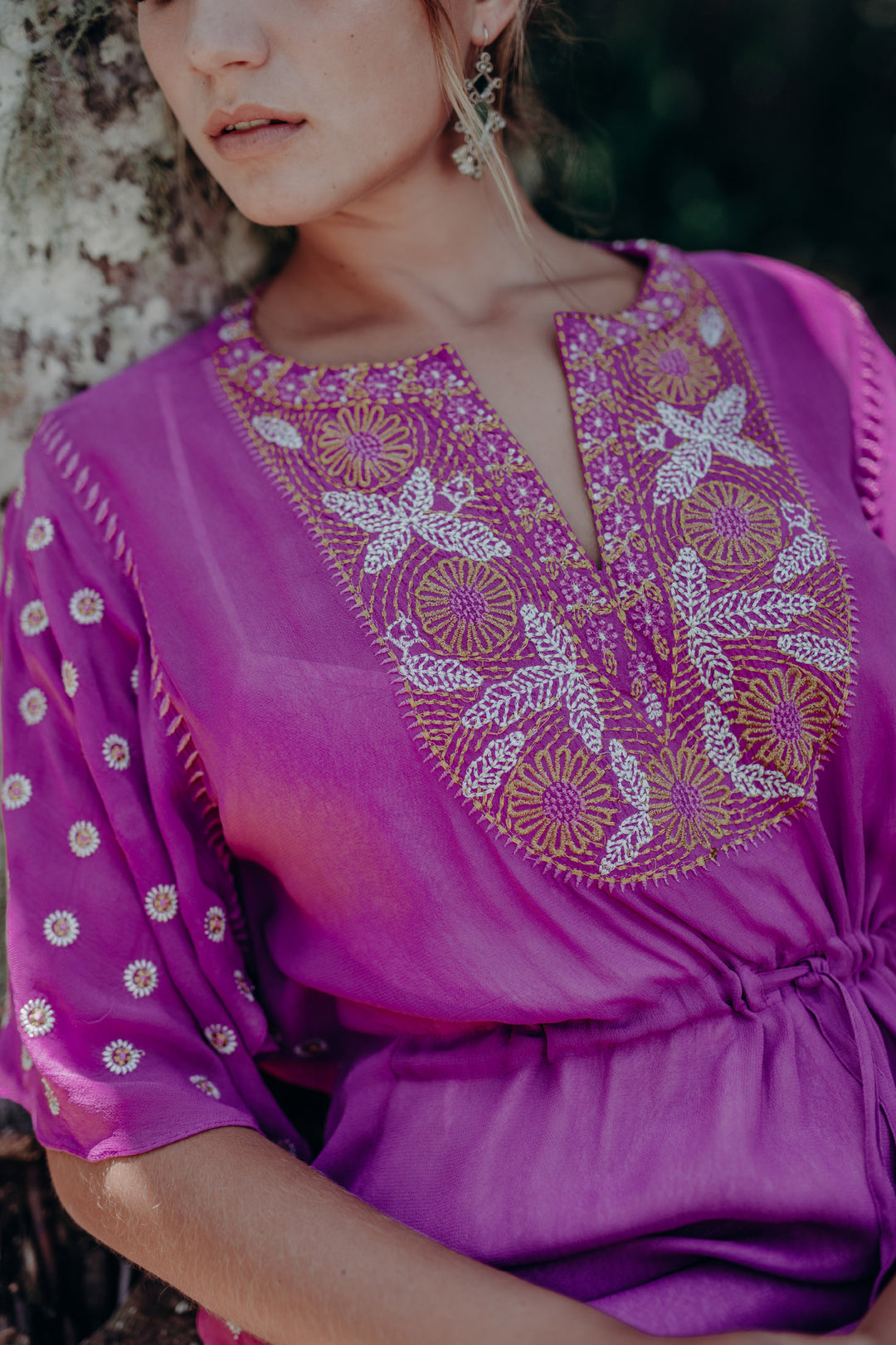 Saree Song Embroidered Kaftan Orchid