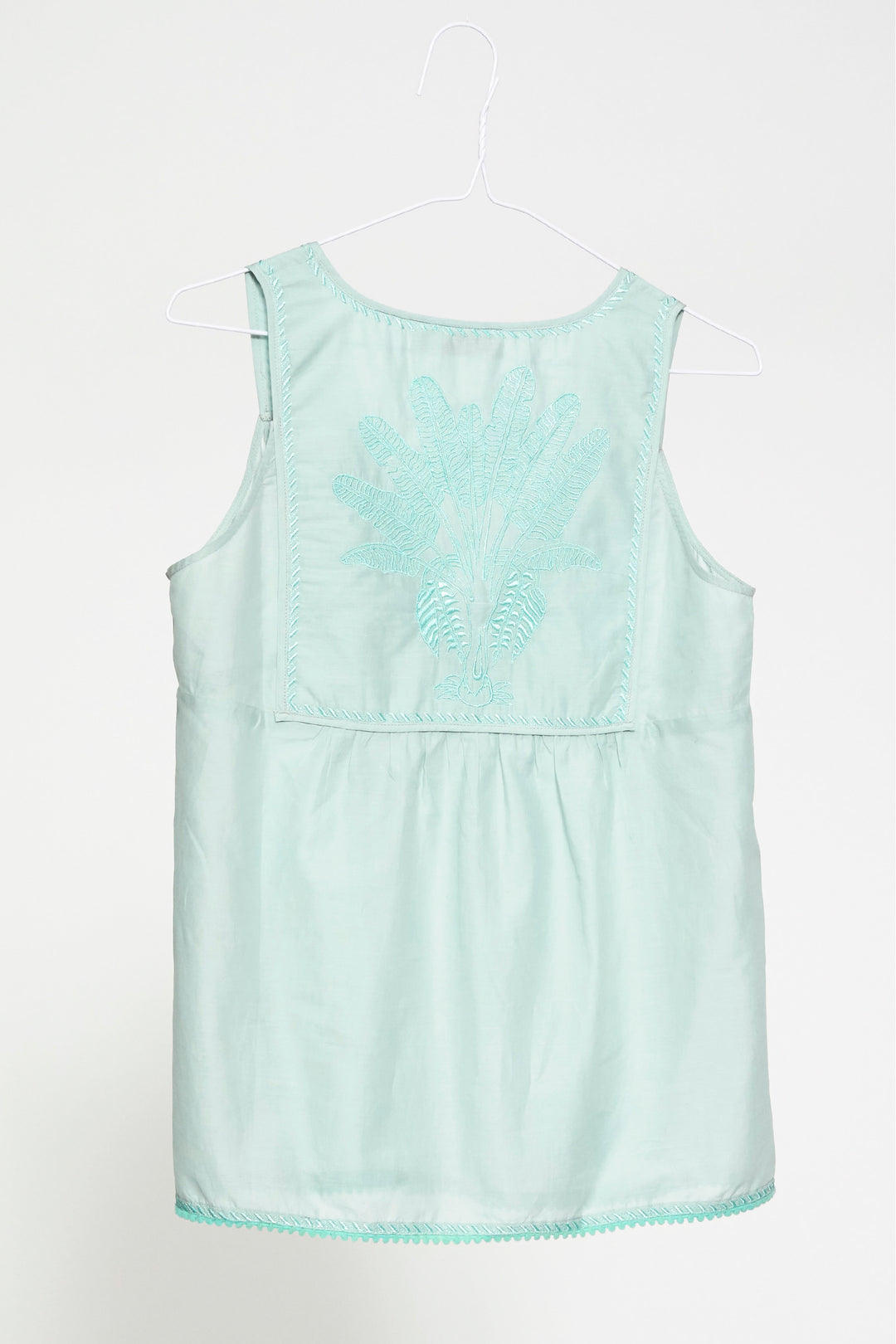 mint green sleeveless embroidered summer palladio camisole top foundling